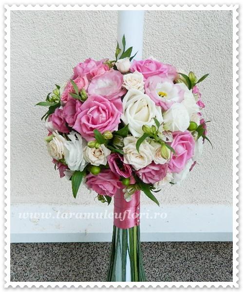 Lumanari nunta trandafiri roz,lisianthus alb.0235